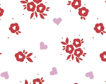 Red flowers, Small pink hearts, white background, XOXO, 21190706, col 01, Camelot Fabrics, cotton, cotton quilt, cotton designer