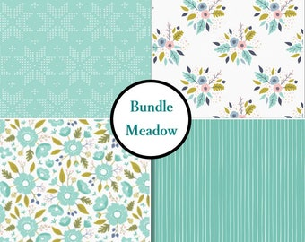4 prints, Meadow, Camelot Fabric, flower, aqua, white, 1 of each print