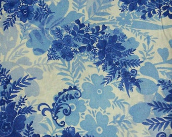Flower, navy, royal, Édition Fabric, multiple quantity cut in one piece, 100% Cotton