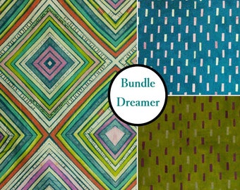 Kit 3 prints, Dreamer, 100% coton, Windham Fabrics,  by Carrie Bloomston
