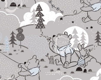 Cloud and Kites, Winnie The Pooh, grey, 85430401, Camelot Fabrics, cotton, cotton quilt, cotton designer