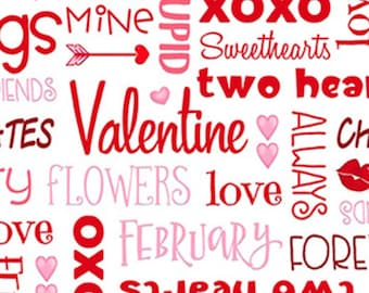 Words, Love Struck, 1363-28, by Shelly Comiskey, Simply Shelly Designs, Henry Glass & Co, 100% Cotton
