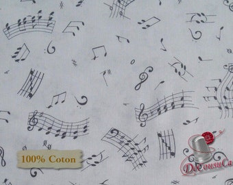 Music note, black, white background, 9289, Blank Quilting, 100% Cotton, (Reg 2.99 - 17.99)