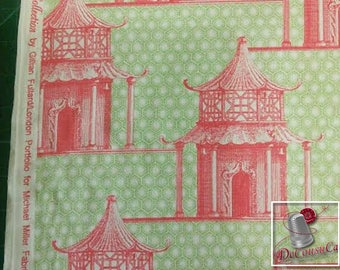 Pagoda Time, pink, green, Michael Miller Fabrics, DC6510, FQ, half-yard, by the yard, 100% Cotton