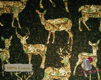 Deer, forest, heather black background, 1172, Sykel Enterprises, Realtree, multiple quantity cut in one piece, 100% Cotton,