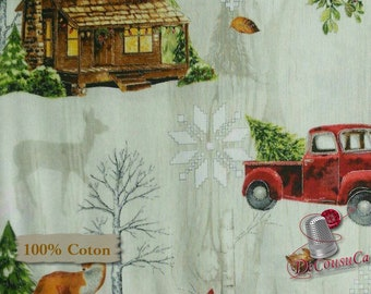 END OF BOLT, Cozy Cabin Christmas, by Sandy Lysan Clough, Red Rooster, #26600, multiple quantity cut in one piece, 100% Cotton
