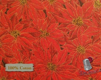 Poinsettia, red, Édition Fabric, multiple quantity cut in one piece, 100% Cotton