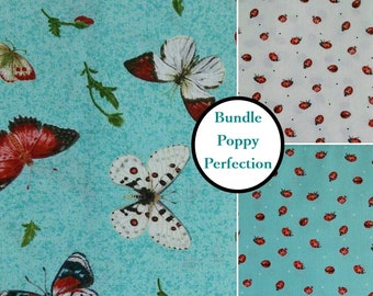 3 prints, 1 of each, Poppy Perfection, Janes's Garden, Henry Glass & Co,