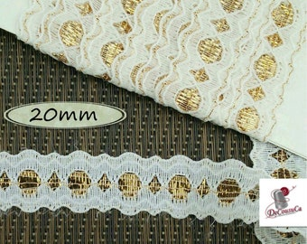"5 yards, Lace trim, Lace, Gold, White, 20mm, (3/4""), polyester, vintage,  DT39"