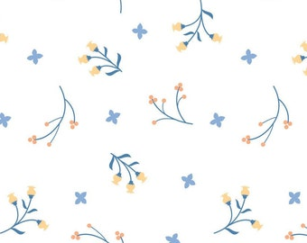 Flowers,blue, Do what you love, 2241503, col 01, Camelot Fabrics, cotton, cotton quilt, cotton designer
