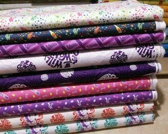 Bundle, 9 prints, Willy Wonka, Camelot Fabrics, Cotton, quilt cotton
