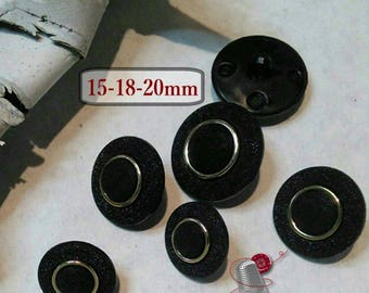 6 buttons, black, gold, 15mm, 18mm, 20mm, BM57, (Reg 3.60-4.20)