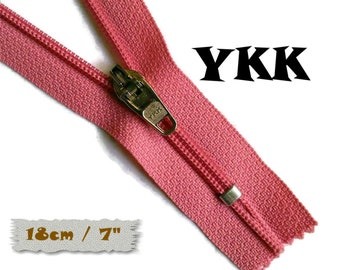 YKK, 18cm, Pink, Zipper, curseur 45c, 7 inchs, Zipper sport, nylon, perfect for wallets, jeans, leather, Z05