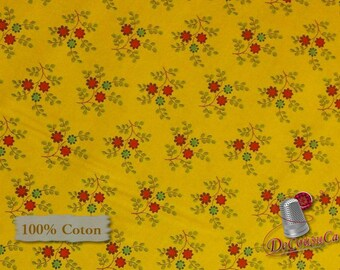 Little flower, red, blue, yellow sun, Quilting Treasures, 100% cotton, (Reg 2.99-17.99)