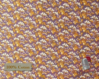 Leaf, tan, violet, St-Louis, 26834, Washington Street Studio, multiple quantity cut in one piece, 100% Cotton
