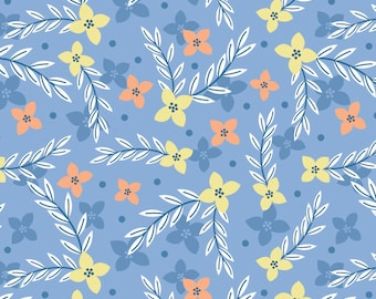Flowers, blue, Do what you love, 2241504, col 02, Camelot Fabrics, cotton, cotton quilt, cotton designer, (Reg 2.99-17.99)