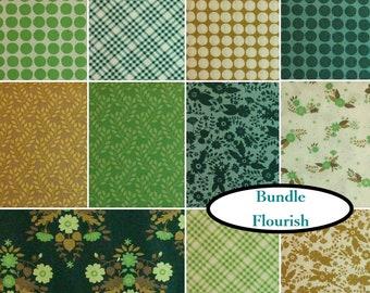 Bundle 11 FQ, or 11 X 1/1 yard, or 14 X 1/2 yard, or 14 X 1 yard, Flourish, Camelot Fabrics, 100% coton