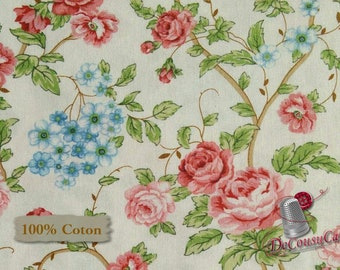 Flower, pink, white, Morning in the garden, Mary Jane Carey, Henry Glass & Co, 2196, multiple quantity cut in 1 piece, (Reg 2.99-17.99)