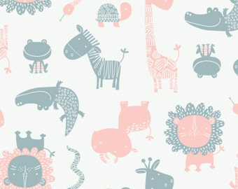 Crocodiles, blue, pink, white, 9140701-02, Camelot Fabrics, multiple quantity cut in one piece, Cotton