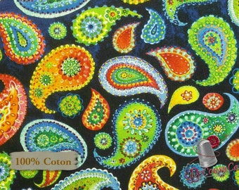 Paisley navy, Blank Quilting, Loca Linda, multiple quantity cut in 1 piece, 100% Cotton, (Reg 3.99 -17.99)