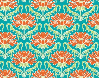 Fleurs, orange, turquoise, Boho Happy, Patrick Lose, 100% Cotton