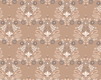 Damask, Brown sugar, 2144704-01, Camelot Fabrics, multiple quantity cut in one piece, 100% Cotton, (Reg 2.99-17.99)