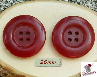 2 Buttons, 26mm, 4 holes, bourgogne, decorative, Vintage, caséine, lucite, 1980, GR07, (Reg 4.80)
