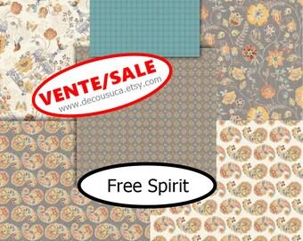 SALE, Bundle, 6 prints, Free Spirit, Camelot Fabrics, Bird cage, flower, beige, 1 of each motif, (Reg 22.56-66.06)