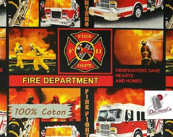 Firefighter, fire truck,  9945, Print Concepts, 100% Cotton