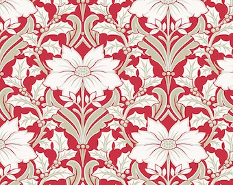Fabric, Cotton, Poinsettia, red, Winter Rose, 9419, Andover