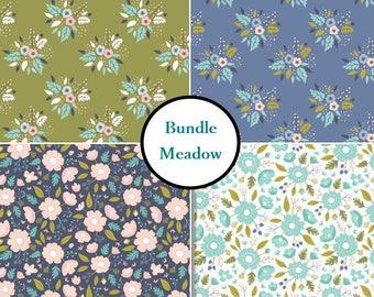 "4 FE 9""X22"", 4 prints, Meadow, Camelot Fabric, deer, flower, blue, aqua, pink, cactus, 1 of each print"