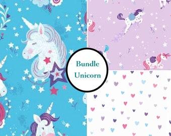 3 prints, Unicorn Kisses, Studio E, bundle, 1 of each print, 100% Cotton