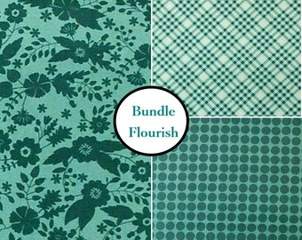 3 prints, Flourish, teal Camelot Fabrics, Bundle, 1 of each print, 100% coton