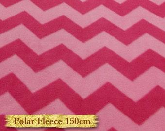 Zigzag, pink & fuschia, Polar Fleece, David Textiles, fabric, 150cm, anti-pilling,