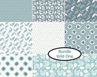 """Bundle, 8 FQ, 1/4 yard, 1/2 yard, FE = 9""""X22"""", 1 of each, Dino Mite, Camelot Fabrics, cotton,"""
