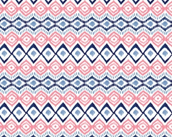 Ikat, rose, indigo, 26170106, Indigo Rose, Camelot Fabrics, multiple quantity cut in one piece, 100% Cotton, (Reg 2.99-17.99)