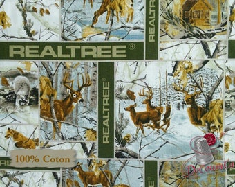 Raccoon, deer, hut, fox, 10080, Sykel Enterprises, Realtree, multiple quantity cut in one piece, 100% Cotton, (Reg 2.99-17.99)