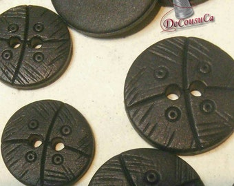 6 buttons, BLACK, 15mm, 20mm, plastic, 2 holes, 1980, BA71, (Reg 4.20-4.80)