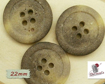 3 Buttons, beige, 22mm, celluloid, vintage, GR10