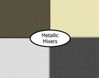 4 prints, gold, silver, Metallic Mixers, Benartex, bundle, 1 of each