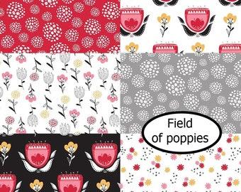 Bundle, 6 prints, Field of Poppies, Camelot Fabrics, 100% Cotton, quilt cotton