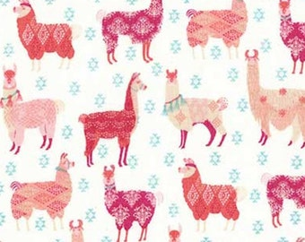 Llama rama, pink, white, 71190108, col 01, The Girls Collection, Camelot Fabrics, cotton, cotton quilt, cotton designer