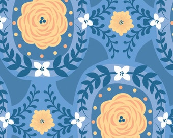 Flowers, blue, Do what you love, 2241505, col 01, Camelot Fabrics, cotton, cotton quilt, cotton designer