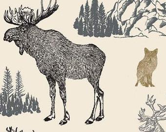 Moose, Caribou, Fox, Cream, Timberland, 10330, Riley Blake, cotton quilt, cotton designer, (Reg 3.76-21.91)