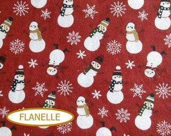 "COUPON, 54""x44"", Flannel, Snowman, Let it snow, 7771, Riley Blake, Flannel 100% high quality cotton, (Reg 21.75)"