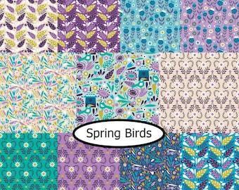 Bundle, 11 prints, Spring Birds, Camelot Fabrics, 100% cotton