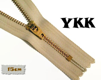 YKK, 15cm, Zipper, Cursor 45U, Beige, 6 Inch, Metal, Zipper, Non-Detachable, vintage, 1980, Z07,0