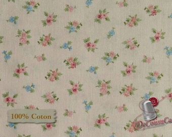Flower, pink, Morning in the garden, Mary Jane Carey, multiple quantity cut in 1 piece, 100% Cotton, (Reg 2.99-17.99)