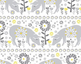 Pig, grey, yellow, white, Village Life, 30180104, Camelot Fabrics, 100% Cotton