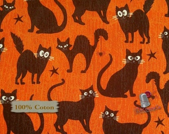 Cat, star, halloween, Henry Glass, multiple quantity cut in one piece, 100% Cotton